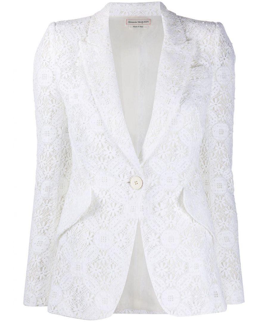 Image for ALEXANDER MCQUEEN WOMEN'S 620224QEABP9000 WHITE COTTON BLAZER