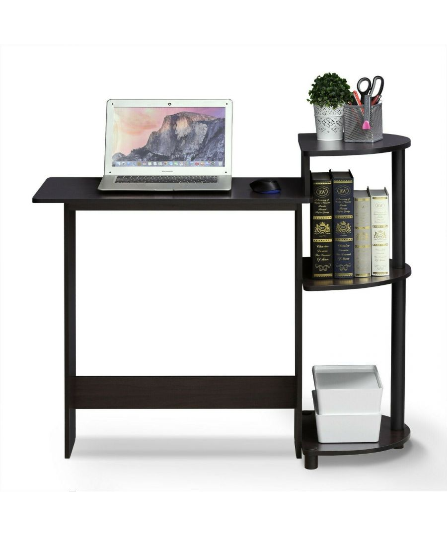 Image for Furinno Compact Computer Desk with Shelves - Dark Walnut