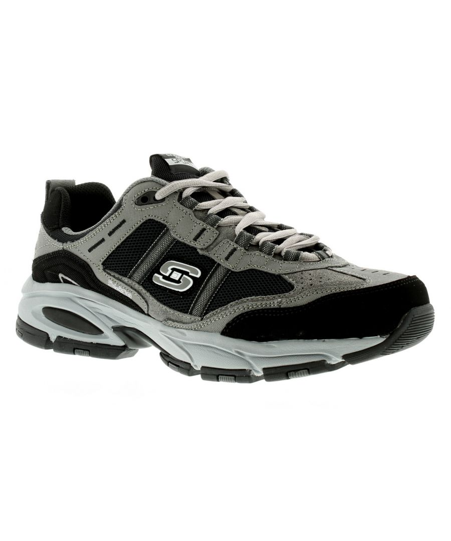 Image for New Mens/Gents Black Skechers Vigor Lace Ups Trainers.