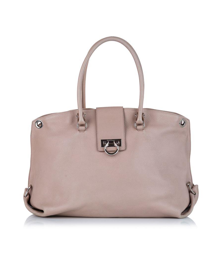 Image for Vintage Ferragamo Gancini Leather Satchel Brown