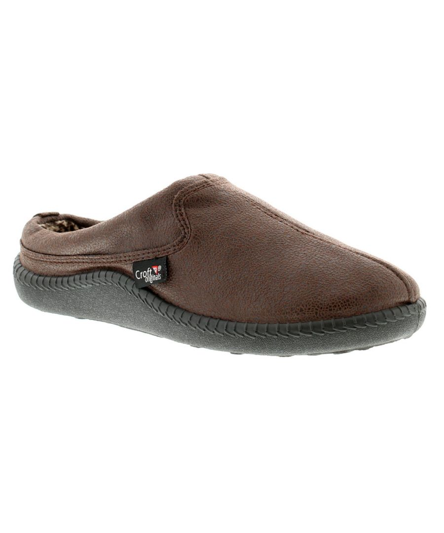 Image for New Mens/Gents Brown Mule Slippers