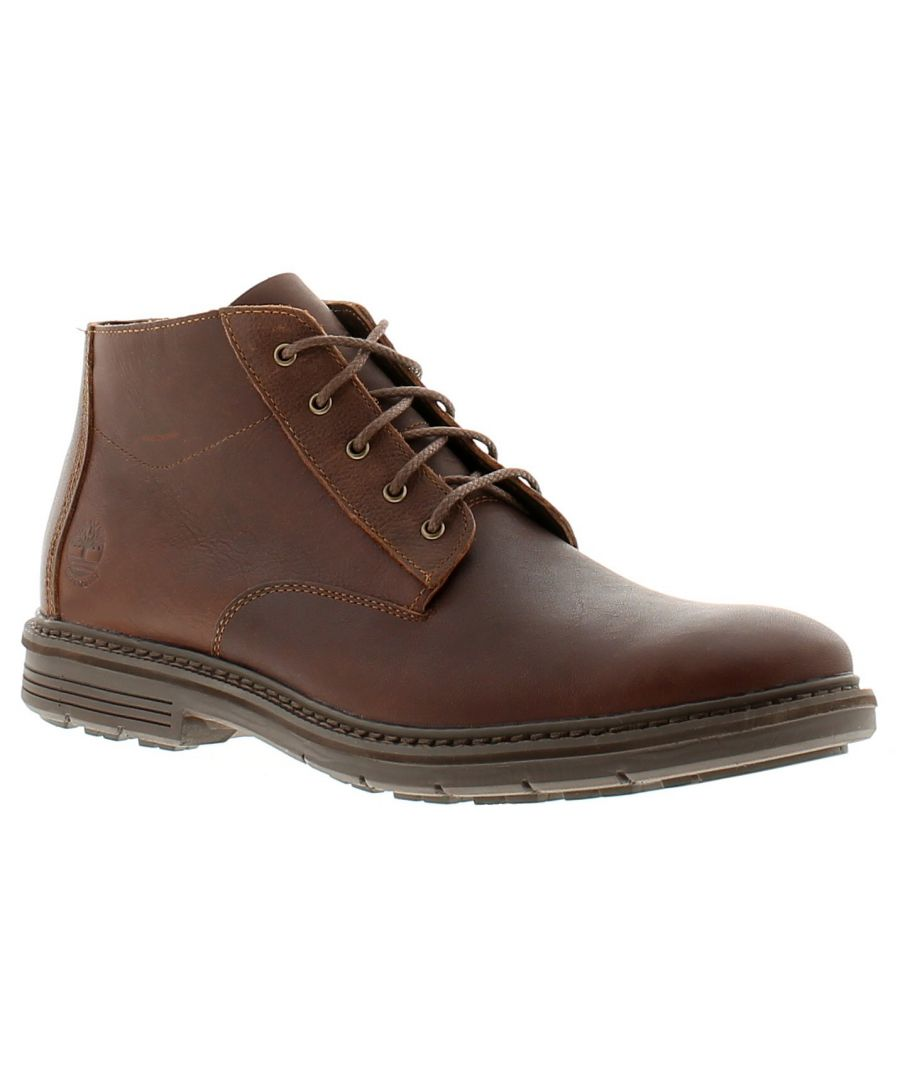 Image for Timberland tmbl naples chukka leather mens formal boots brown