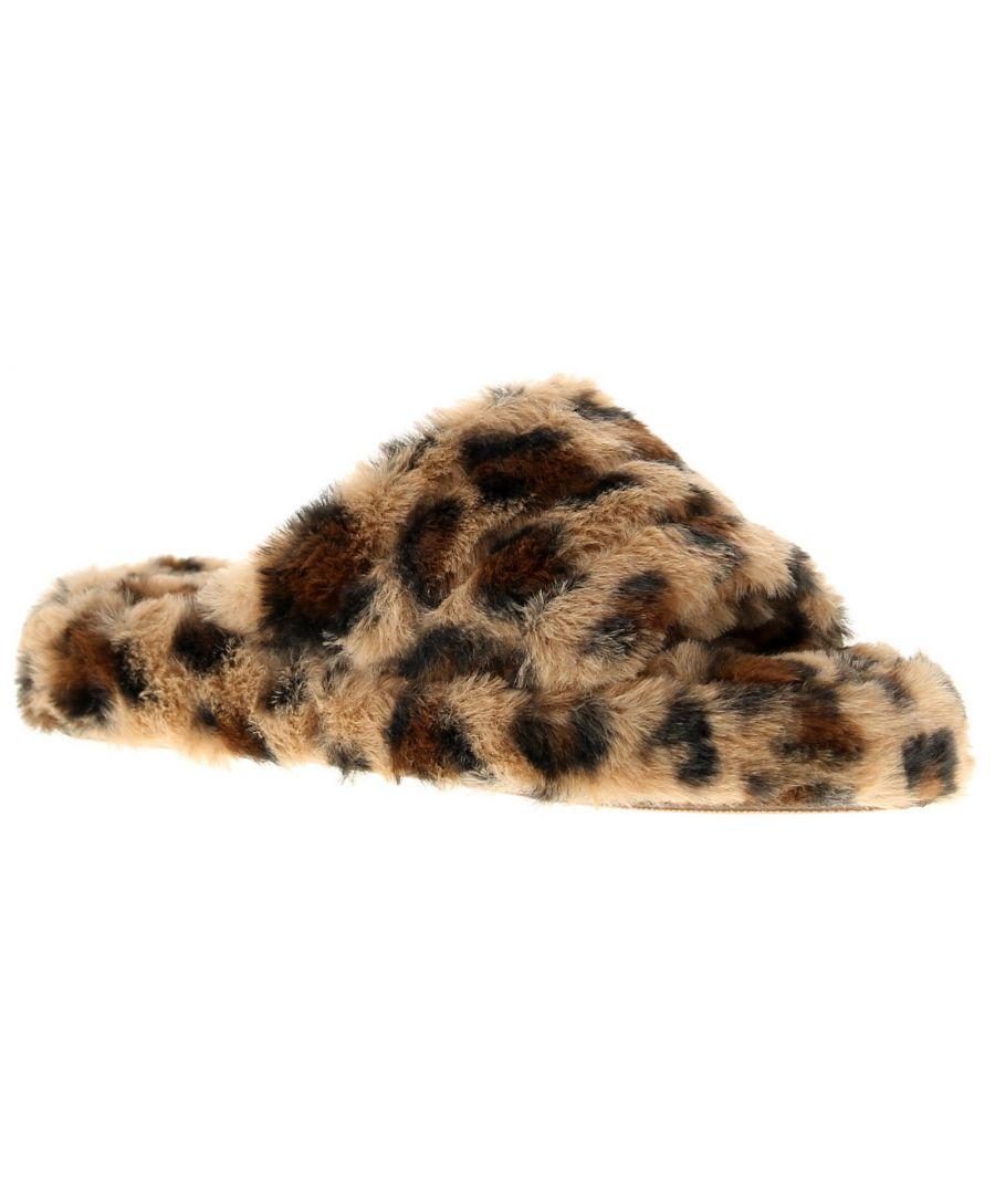 Image for Ladies Faux Fur Leopard Print Open Toe Slipper Elasticated Sling Back Heel On A Platform Sole Textil