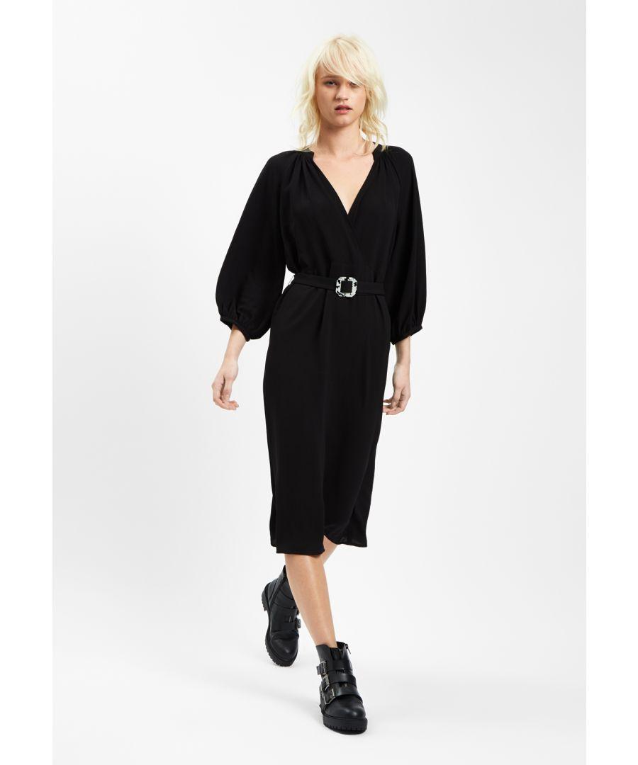 Image for Belt Up Midi V-Neck Dress in Black