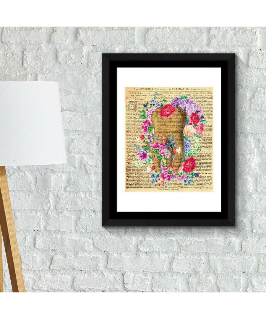 Image for Walplus Framed Art 2in1 Flowery Tooth Poster wall decal, wall decal flowers, Framed Photo, Framed Art