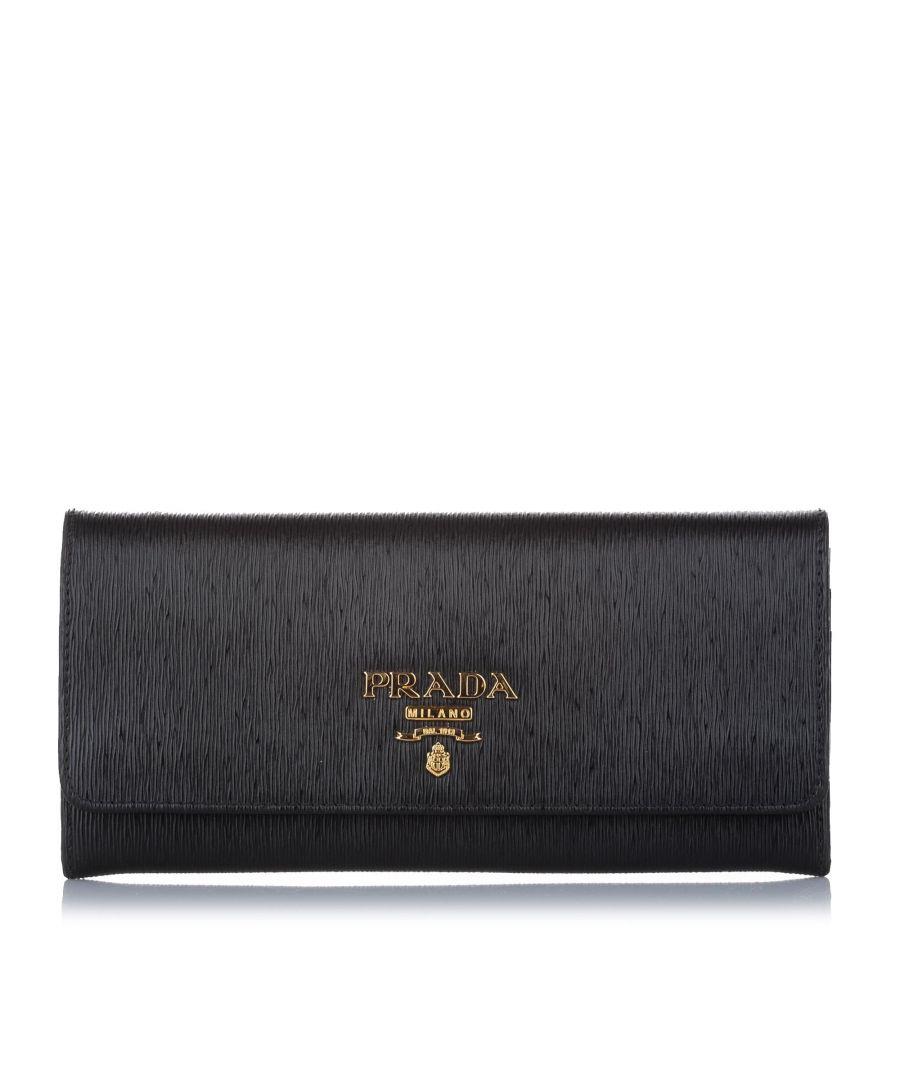 Image for Vintage Prada Vitello Move Wallet on Chain Black