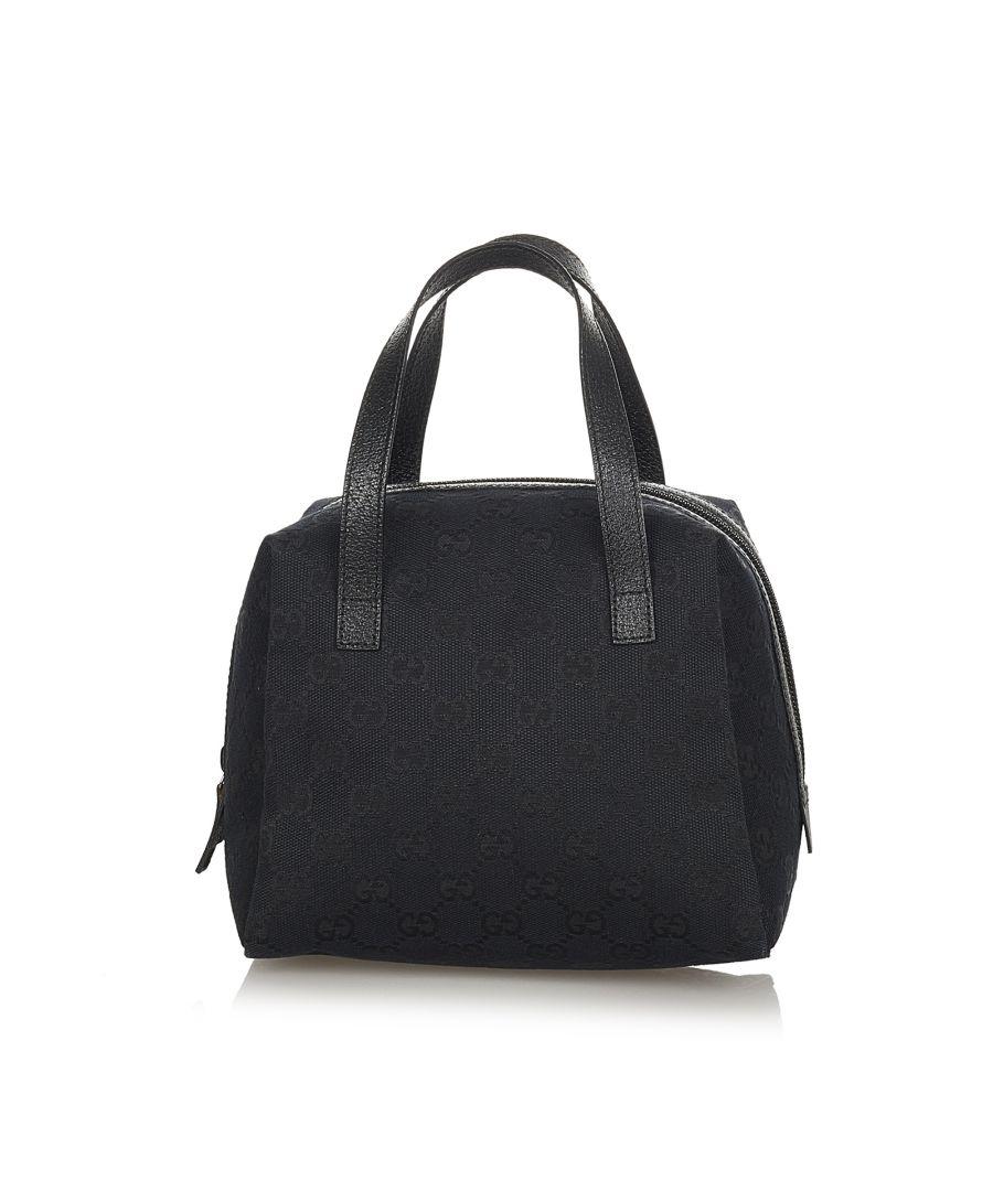Image for Vintage Gucci GG Canvas Handbag Black
