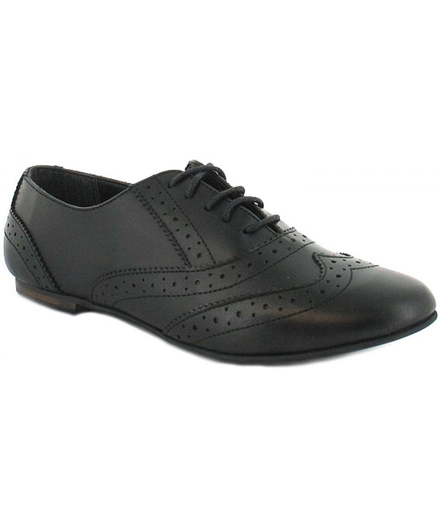 Image for Ladies/Womens Black Leather Lace Up Shoe With Brogue Detail