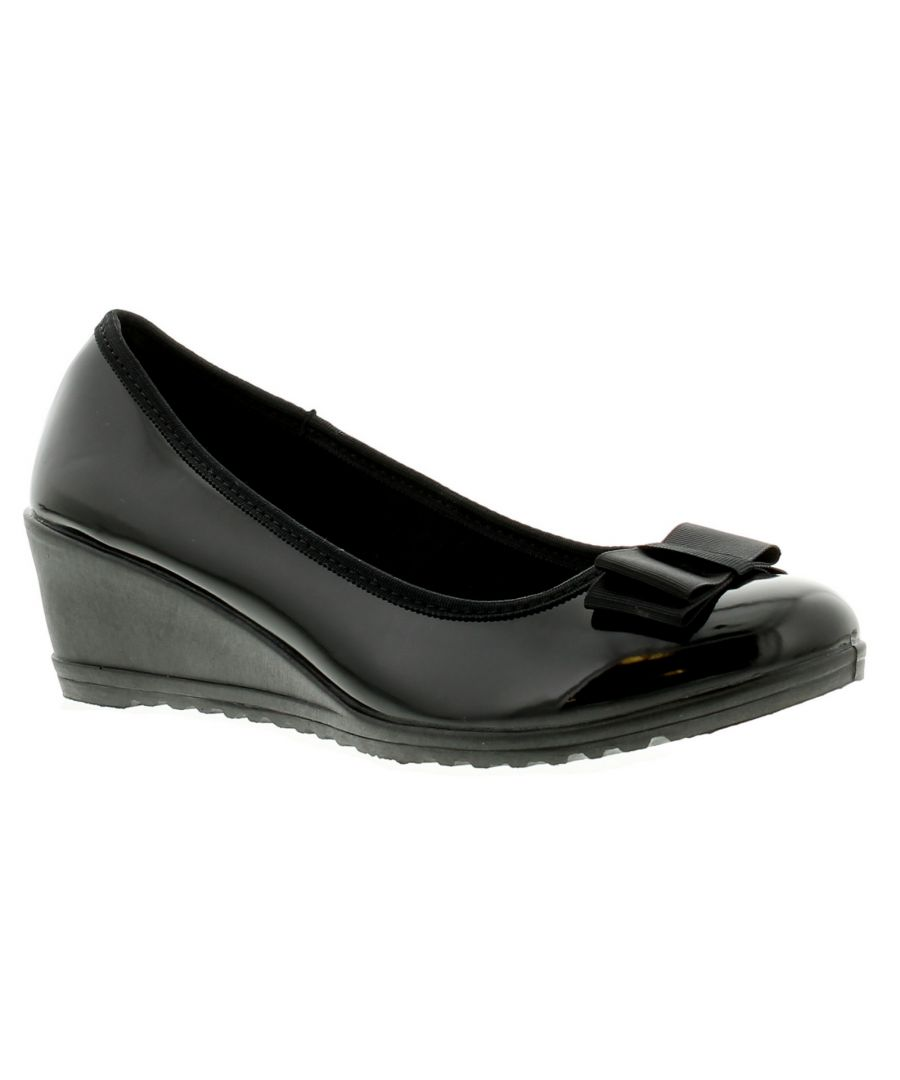 Image for New Ladies/Womens Black Patent Low Heels Slip On Wedges/Shoes With Bow