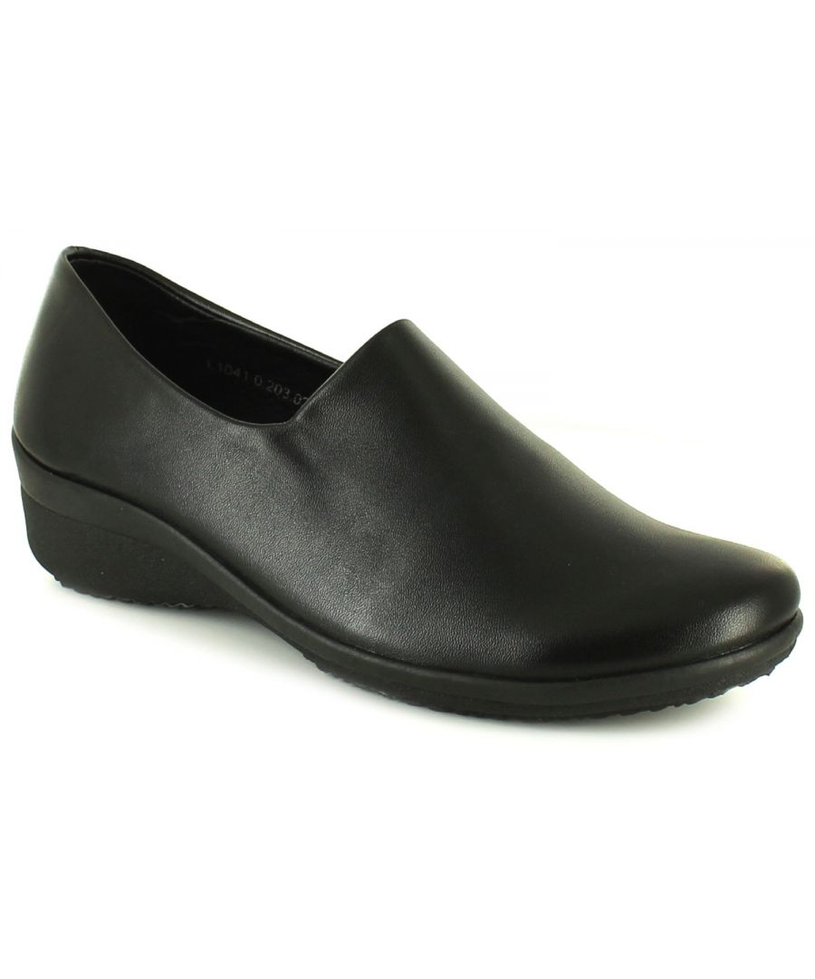 Image for Womens/Ladies Black Stretch Slip On Wedge Shoes.