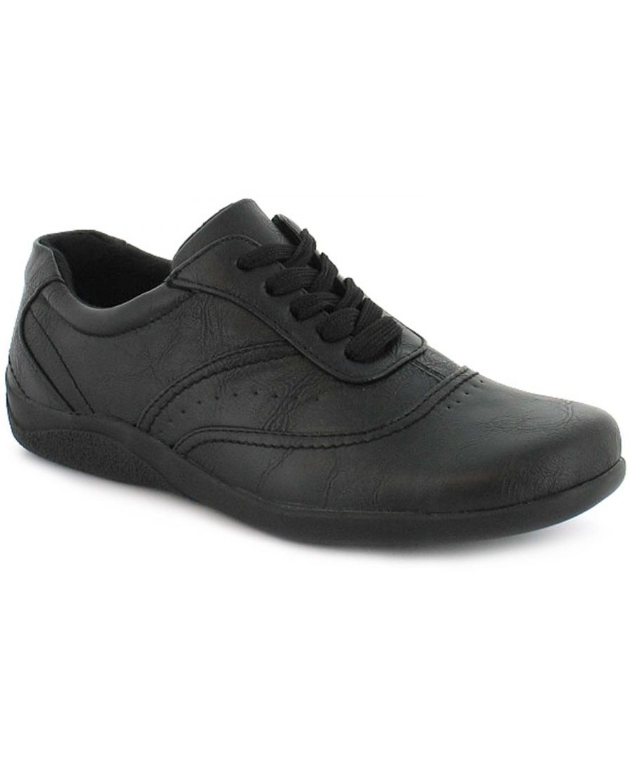 Image for Womens/Ladies Black Comfort Casual Shoes With Lace Up Fastening