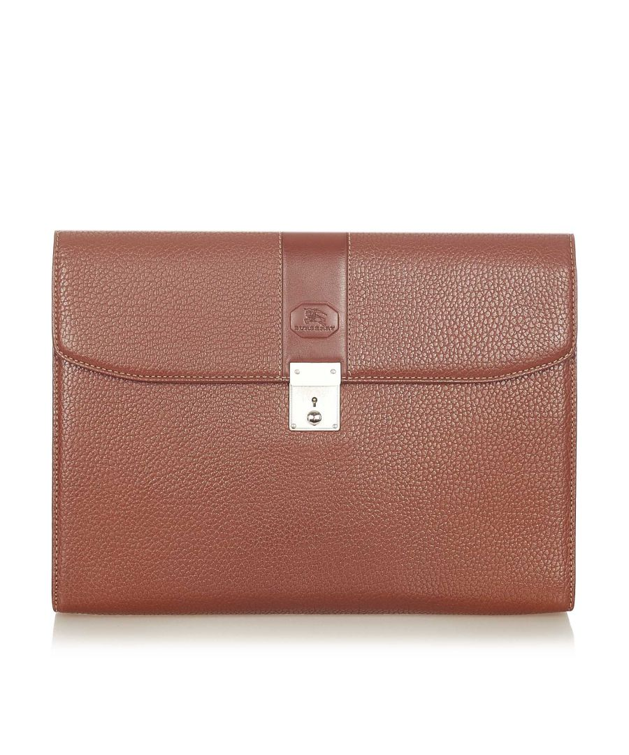 Image for Vintage Burberry Leather Clutch Bag Brown