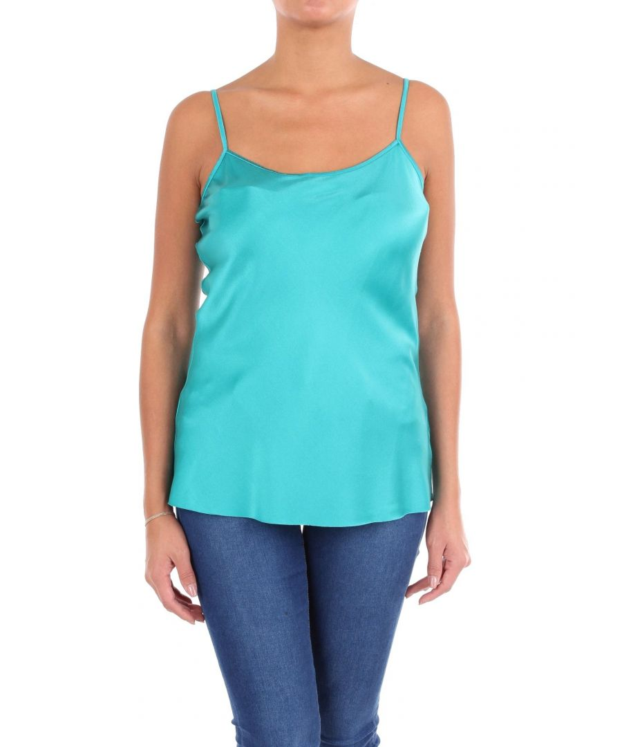 Image for JUCCA WOMEN'S J29121161574 LIGHT BLUE SILK TANK TOP