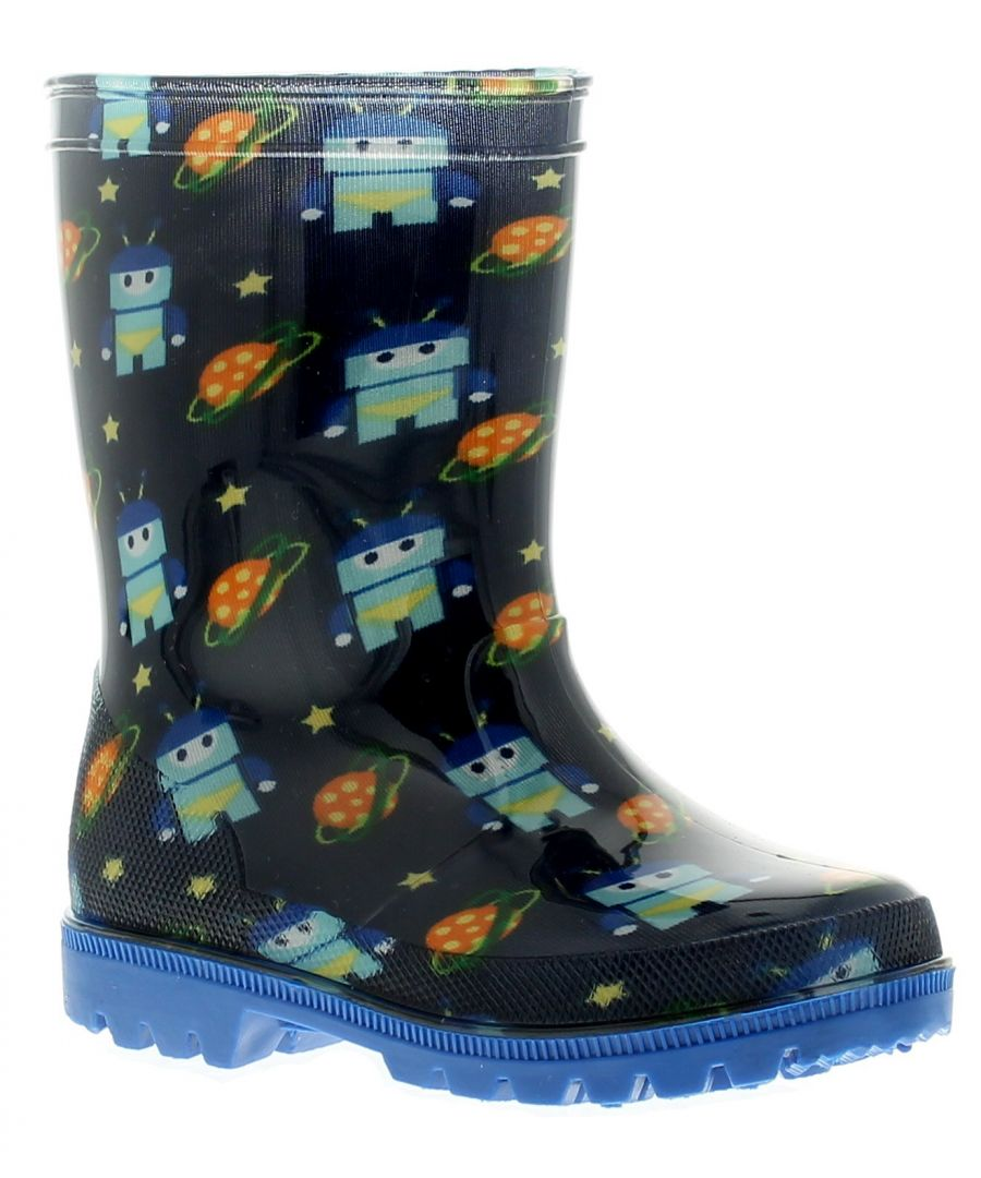 Image for Dinosaur Hunters Space Dude Boys Kids Wellies Wellington Boots Blue