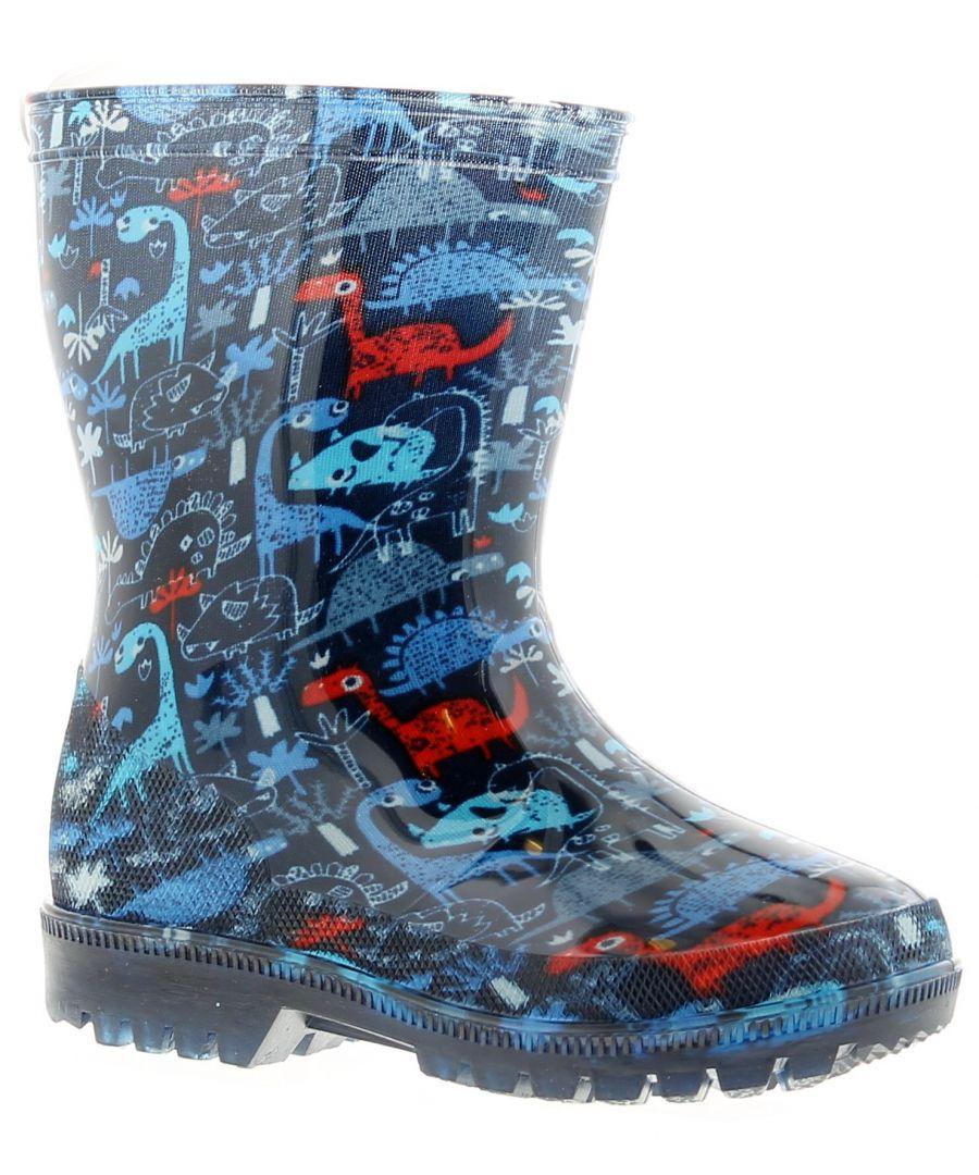 Image for Dinosaur Hunters Rawr Boys Kids Wellies Wellington Boots Blue