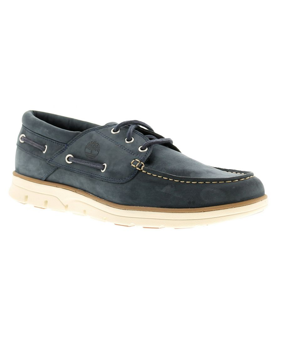 Image for Timberland bradstreet boat leather mens casual shoes marine blue
