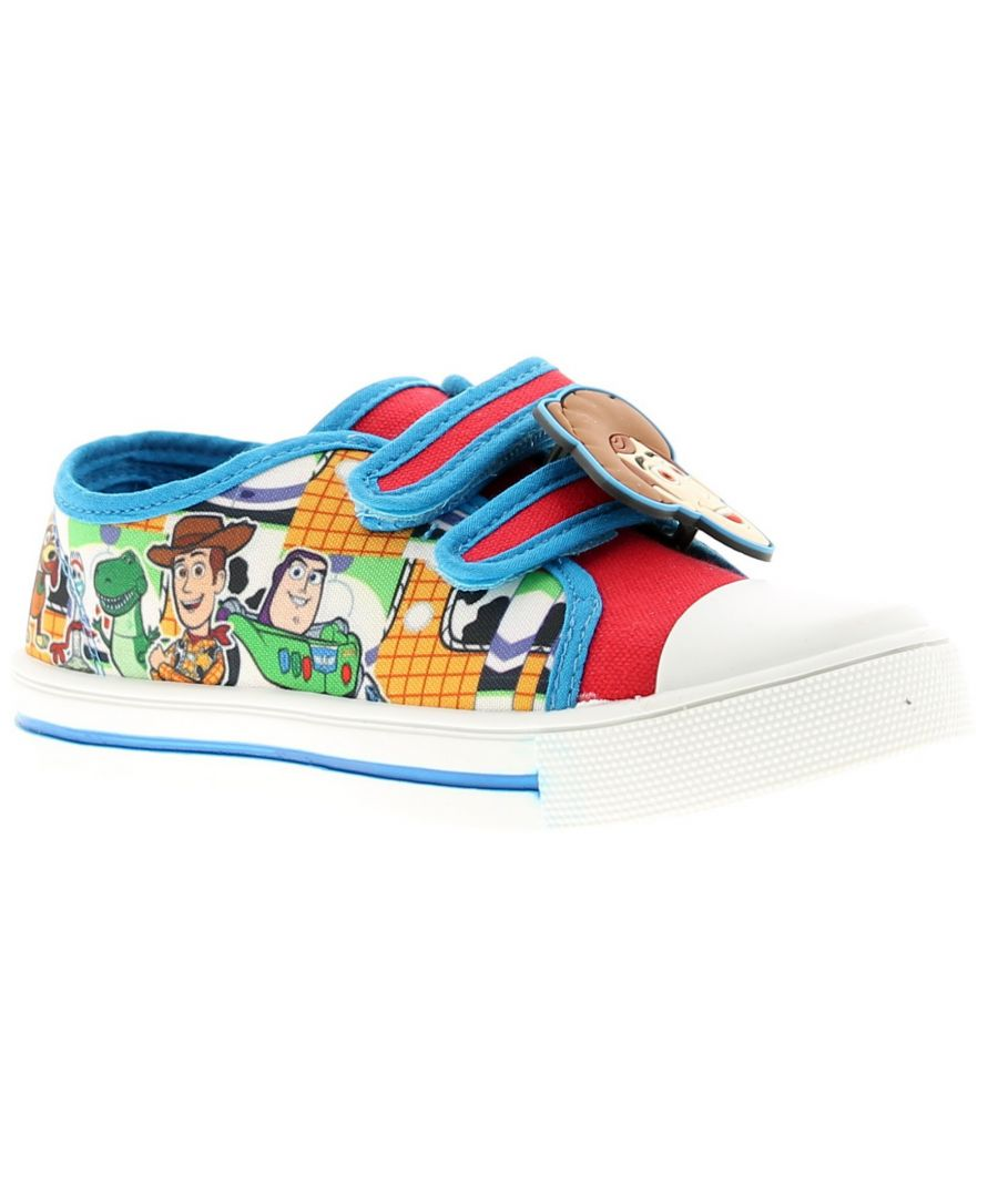 Image for Younger Boys Character Canvas Shoe Twin Touch Fastening Straps With Rubber Woody And Buzz Badge Char