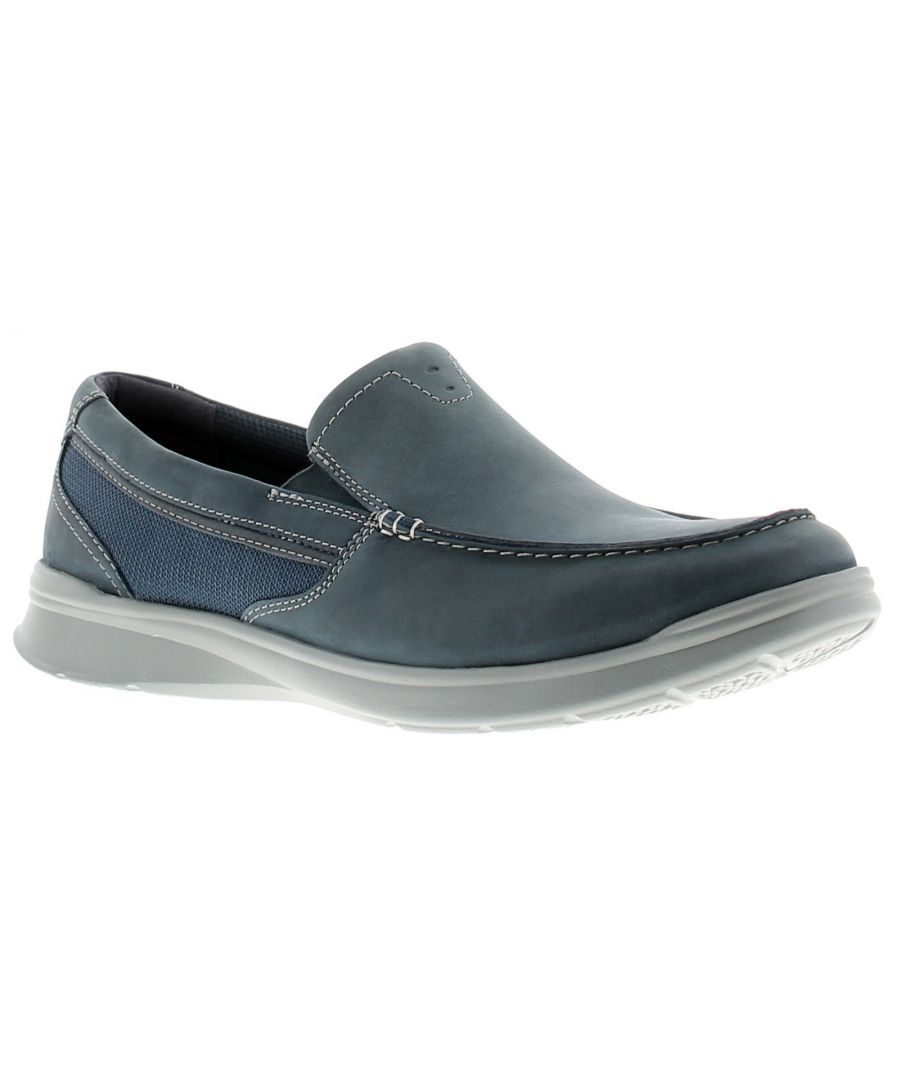 Image for Clarks cotrell leather mens casual shoes blue