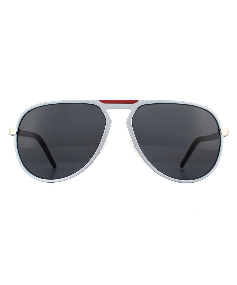 Image for Dior Sunglasses AL13.2 UFR IR Matte Silver and Black Grey
