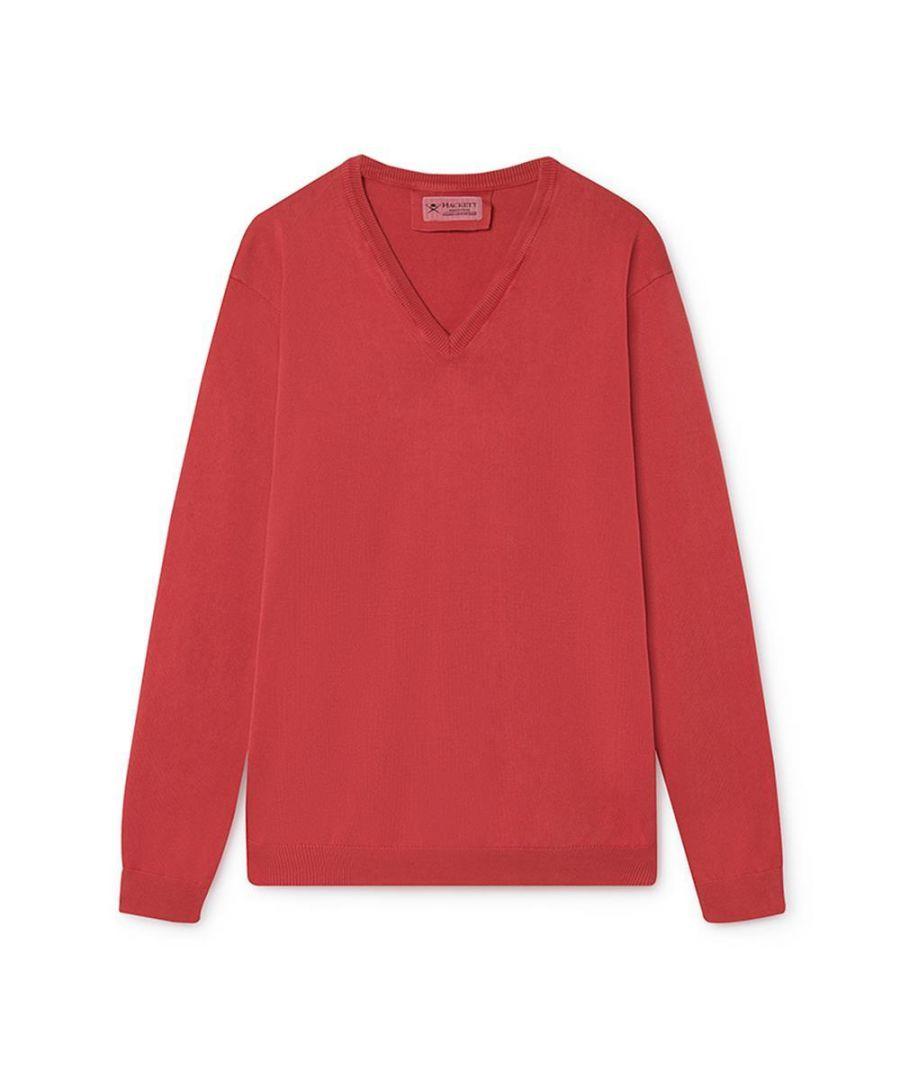 Image for Men's Hackett,  FN GG Garment Dyed V Neck Sweater in Red