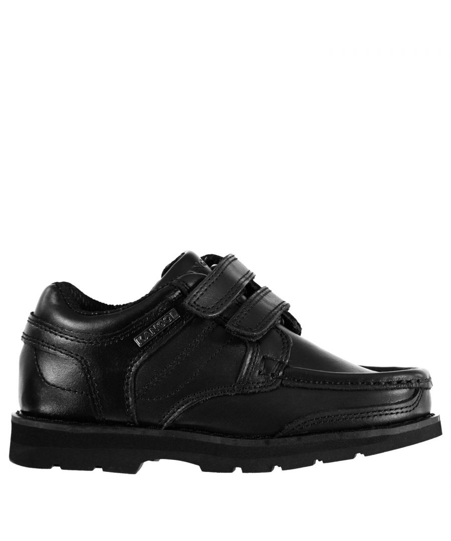 Image for Kangol Kids Harrow Strapped Boys Dual Hook and Loop Leather Shoes Slip On