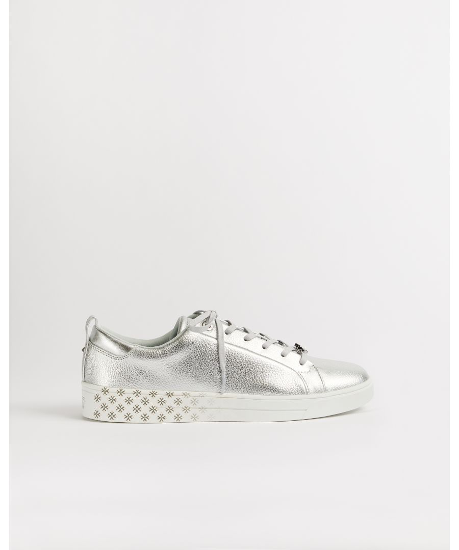 Image for Ted Baker Roullym Metallic Leather Trainers, Silver