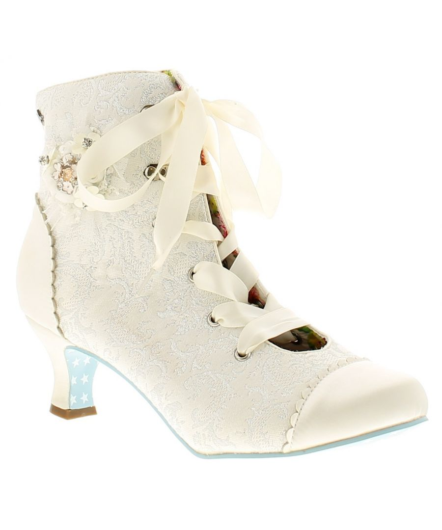Image for Joe Browns Couture hitched boot couture womens ladies ankle boots ivory/silver