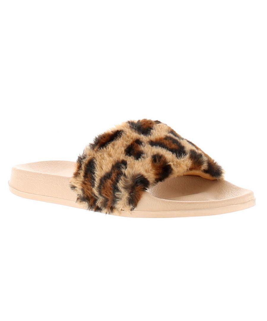 Image for Miss Riot miss cheetah girls kids slip on slippers beige