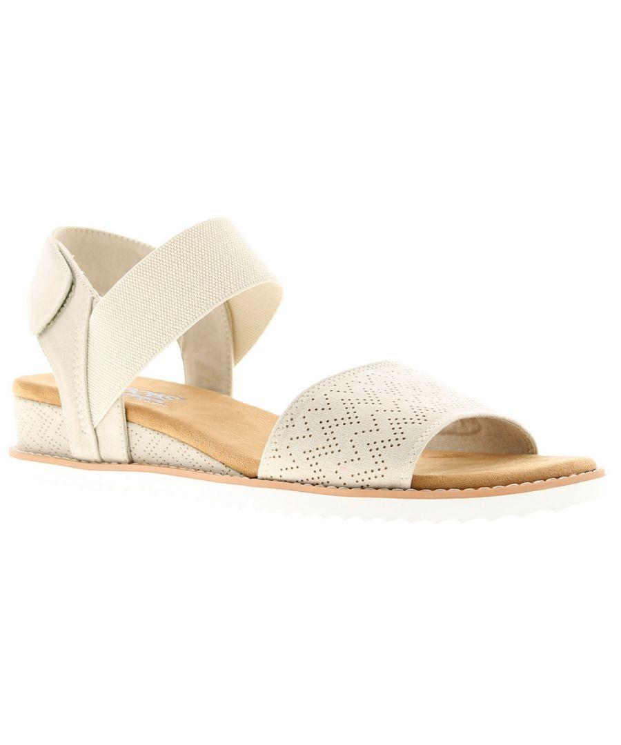 Image for Skechers desert kiss Womens Wedge Sandals off white 1 1/4 inch built in heel