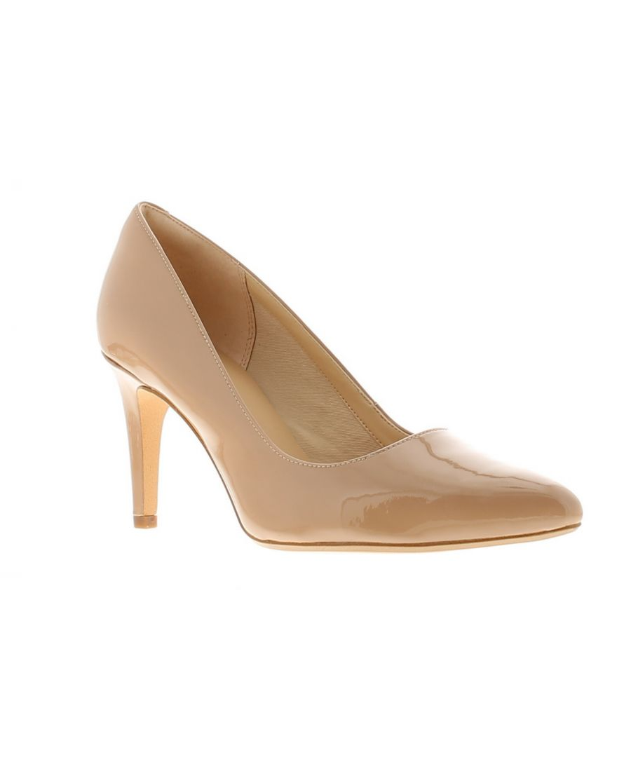 Image for Clarks laina rae leather womens ladies heels court shoes beige