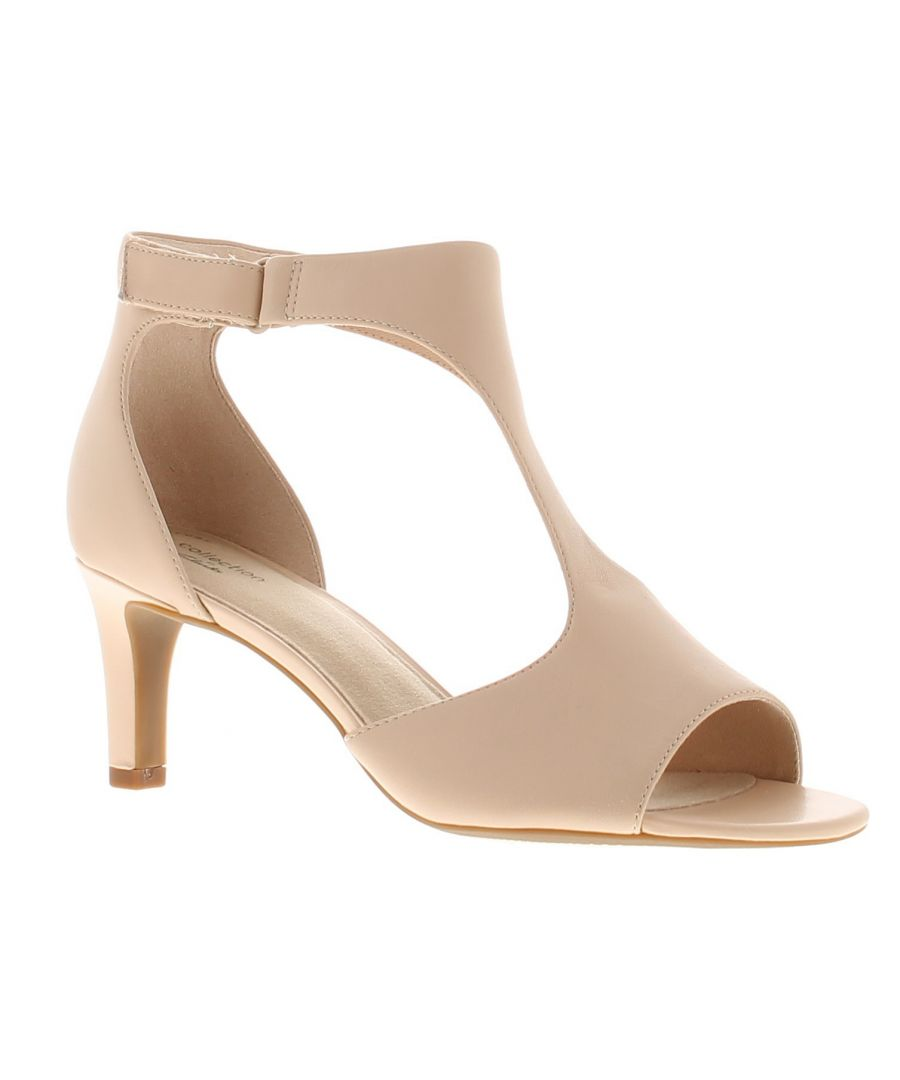 Image for Clarks alice flame leather womens ladies heeled sandals beige