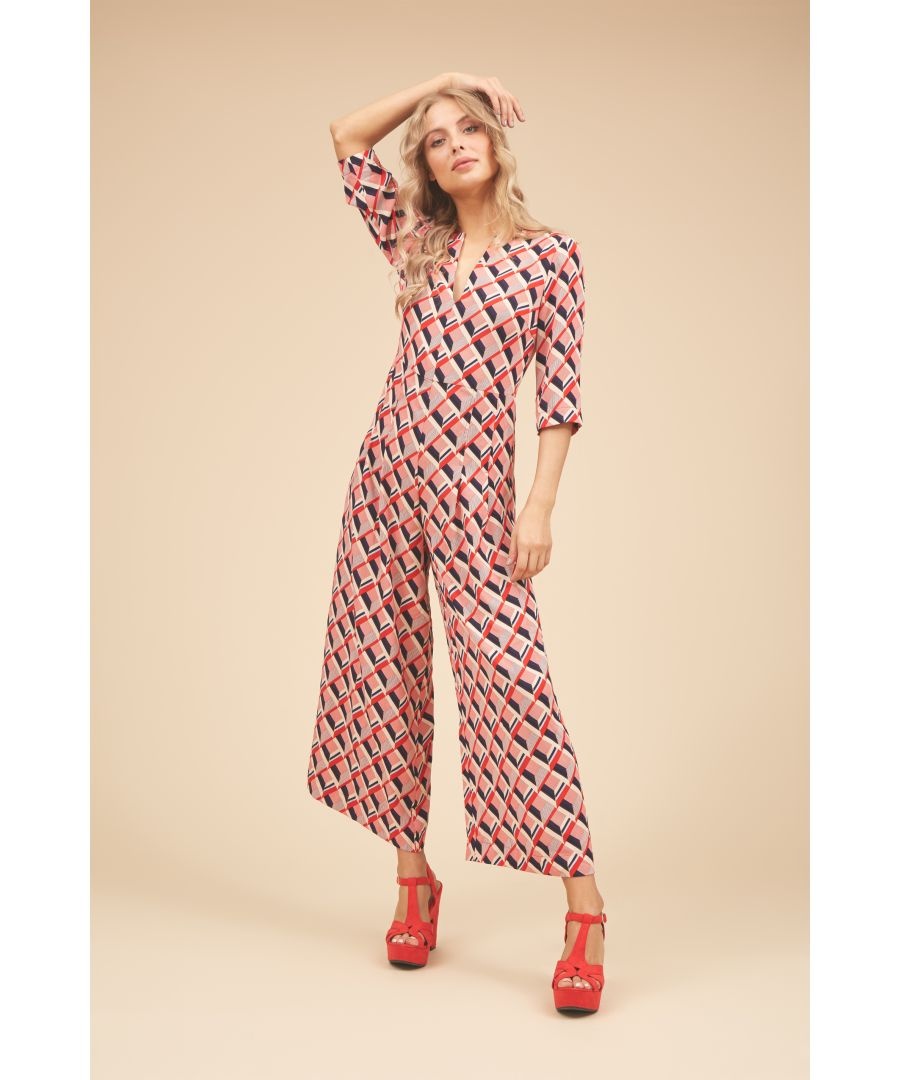 Image for Betty 3/4 Sleeve Printed Jumpsuit in Red and Beige