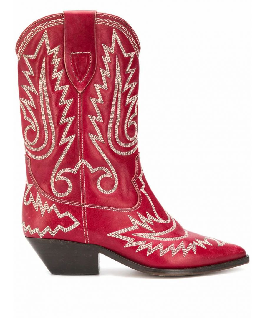 Image for ISABEL MARANT WOMEN'S BO044820P024S70RD RED LEATHER ANKLE BOOTS