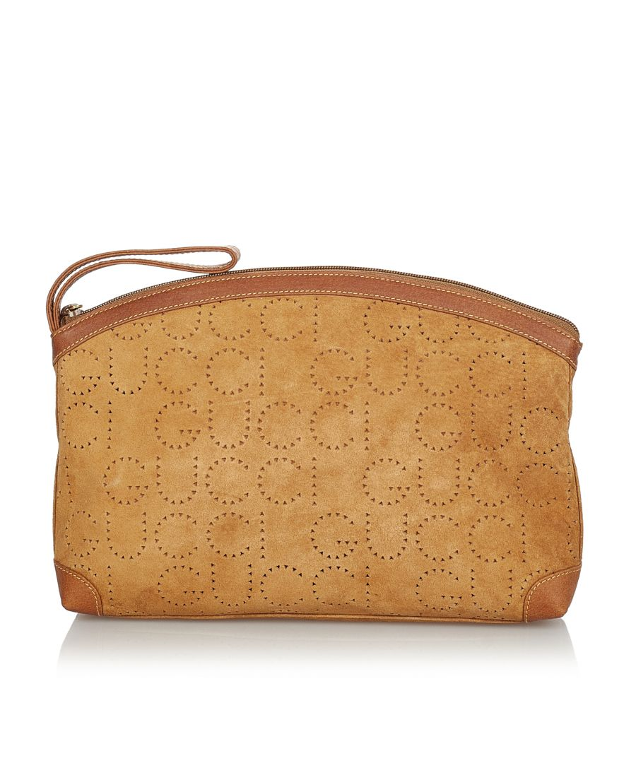 Image for Vintage Gucci Suede Leather Clutch Bag Brown