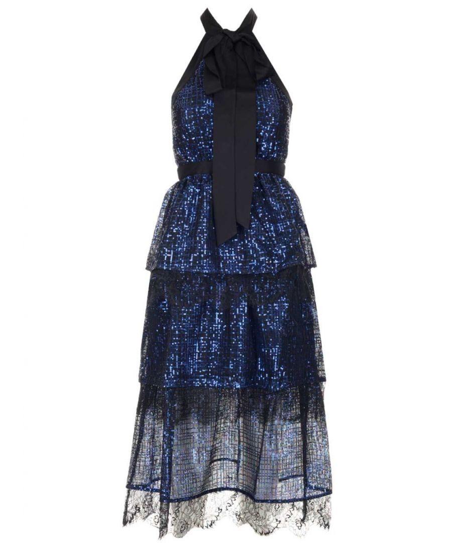 Image for SELF-PORTRAIT WOMEN'S SP23084SBLUE BLUE SYNTHETIC FIBERS DRESS