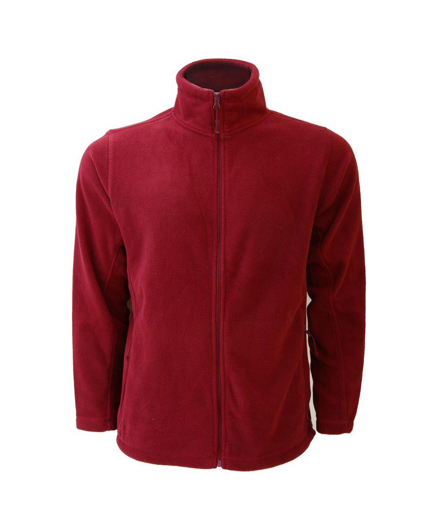 Image for Russell Mens Full Zip Outdoor Fleece Jacket (Classic Red)