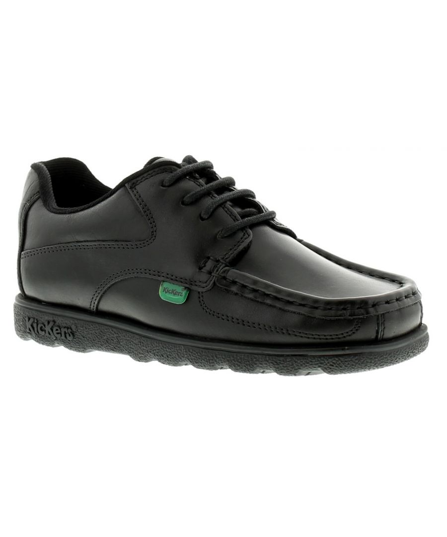 Image for New Boys/Childrens Black Kickers Mocassin Style School Shoes.