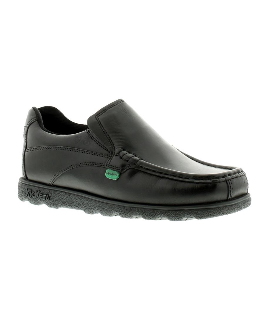 Image for New Older Boys/Childrens Black Kickers Fragma Slip Ons Shoes