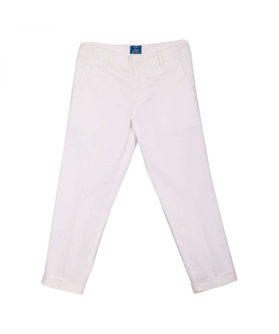 Image for FAY GIRLS 5M6071MX230100 WHITE COTTON PANTS