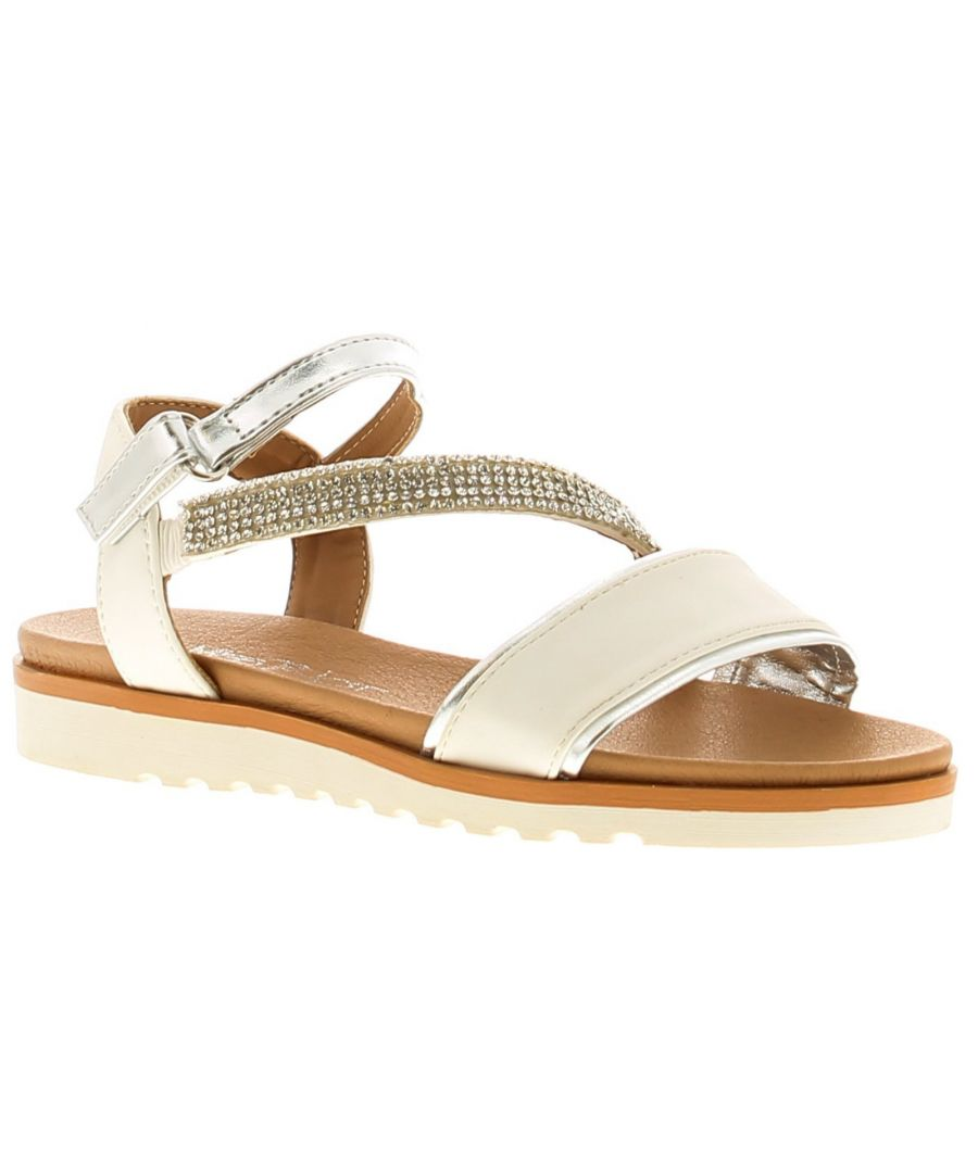 Image for Miss Riot Sadie Girls Kids Summer Sandals White/Silver