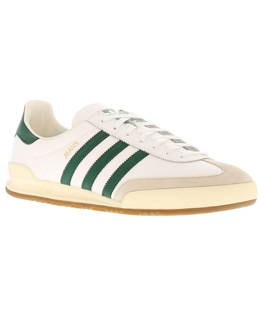 Image for Adidas Originals jeans leather mens trainers white/green
