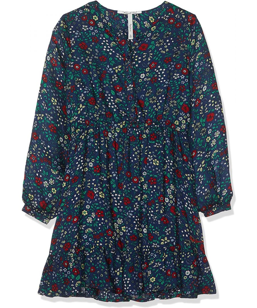 Image for Pepe Jeans Girls Dark Blue Dress with Flower Pattern