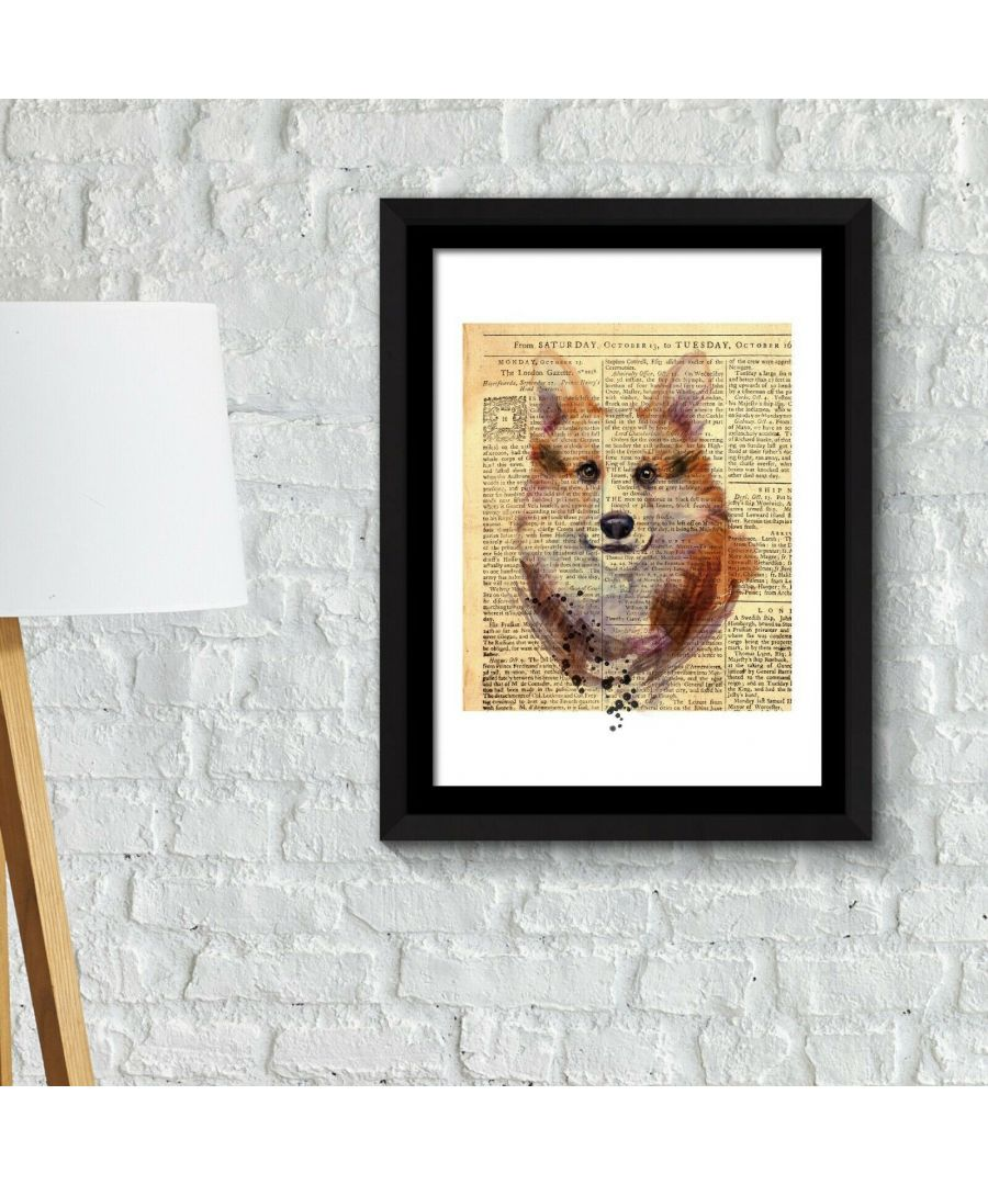 Image for Framed Art 2in1 Fox Newspaper Animal Poster Framed Photo, Framed Art
