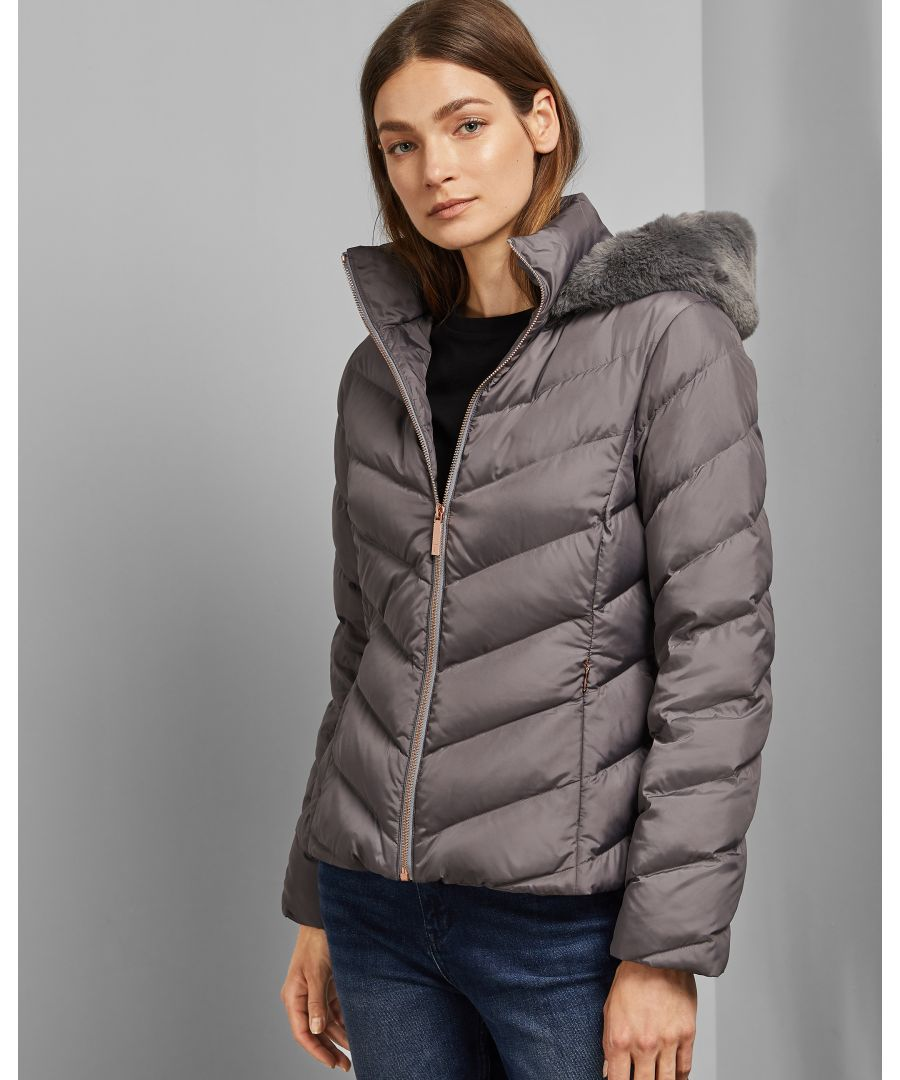 Image for Ted Baker Laiya Chevron Quilted Puffer Jacket, Grey