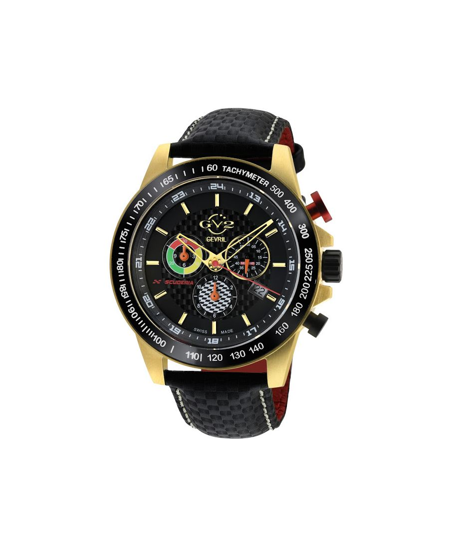Image for GV2 Men's Scuderia White Dial Black Leather Chronograph Date Watch