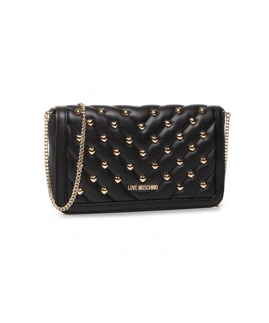 Image for Love Moschino Love Heart Studded Gold Chain Crossbody Bag in Black