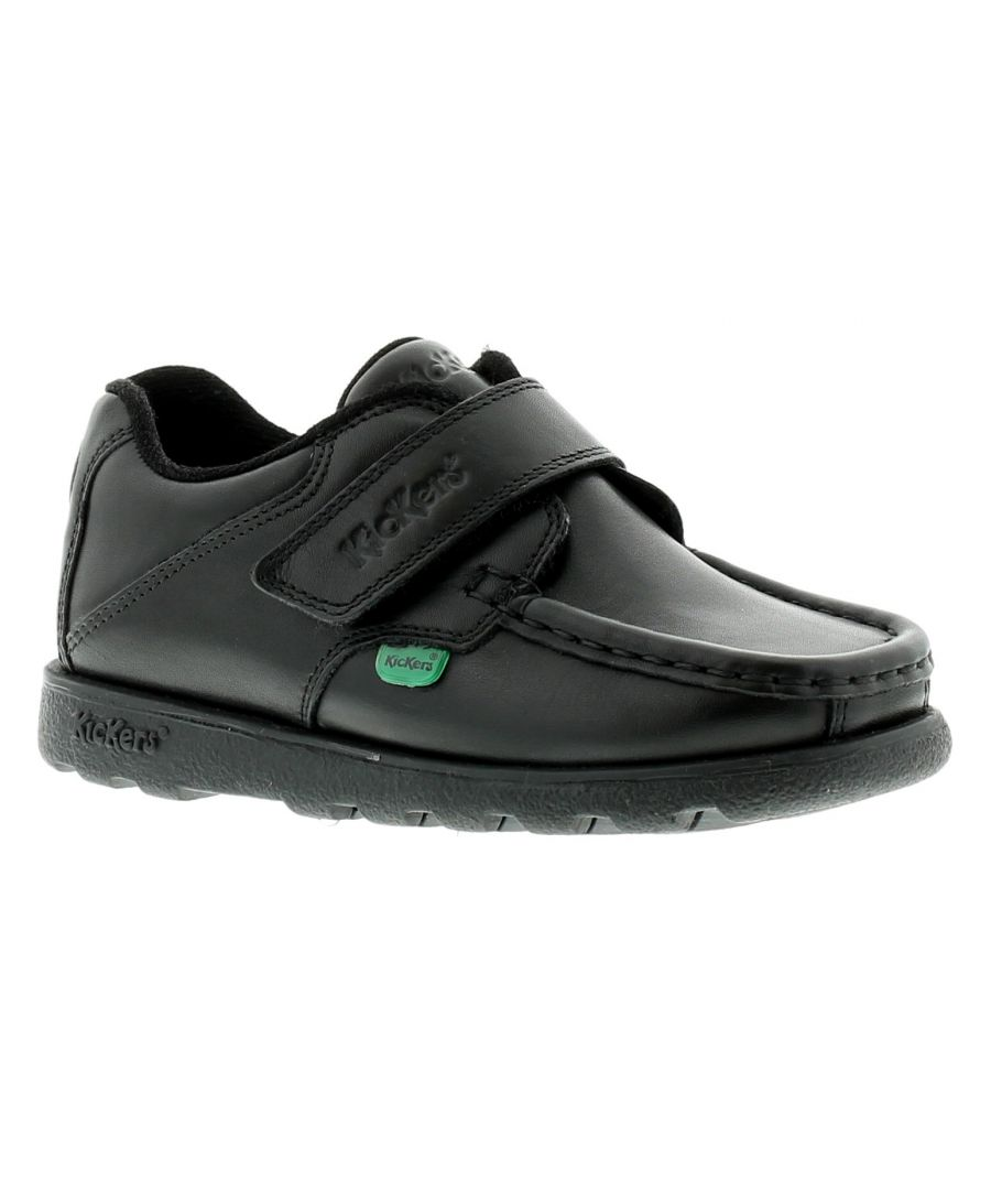 Image for New Boys/Childrens Black Kickers Fragma3 Touch Fastening School Shoes.