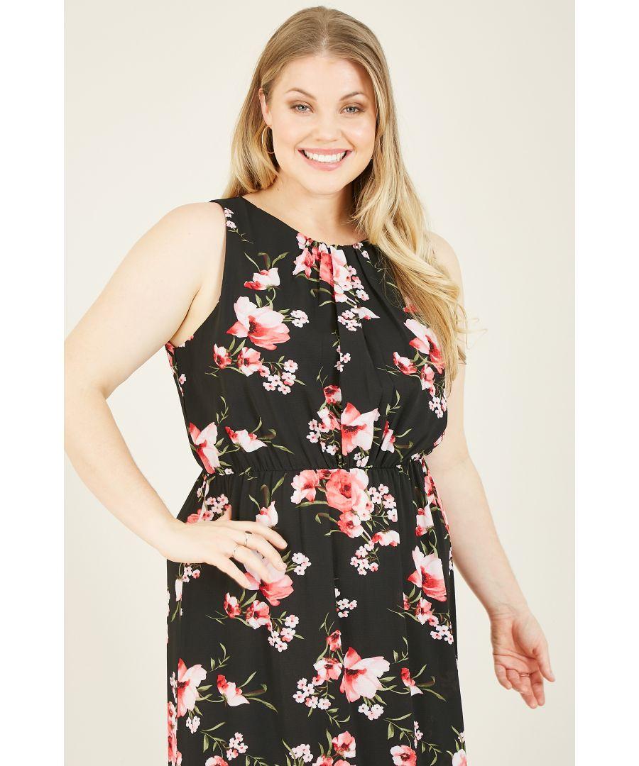 Image for Mela London Curve Floral Printed High Neck Maxi Dress
