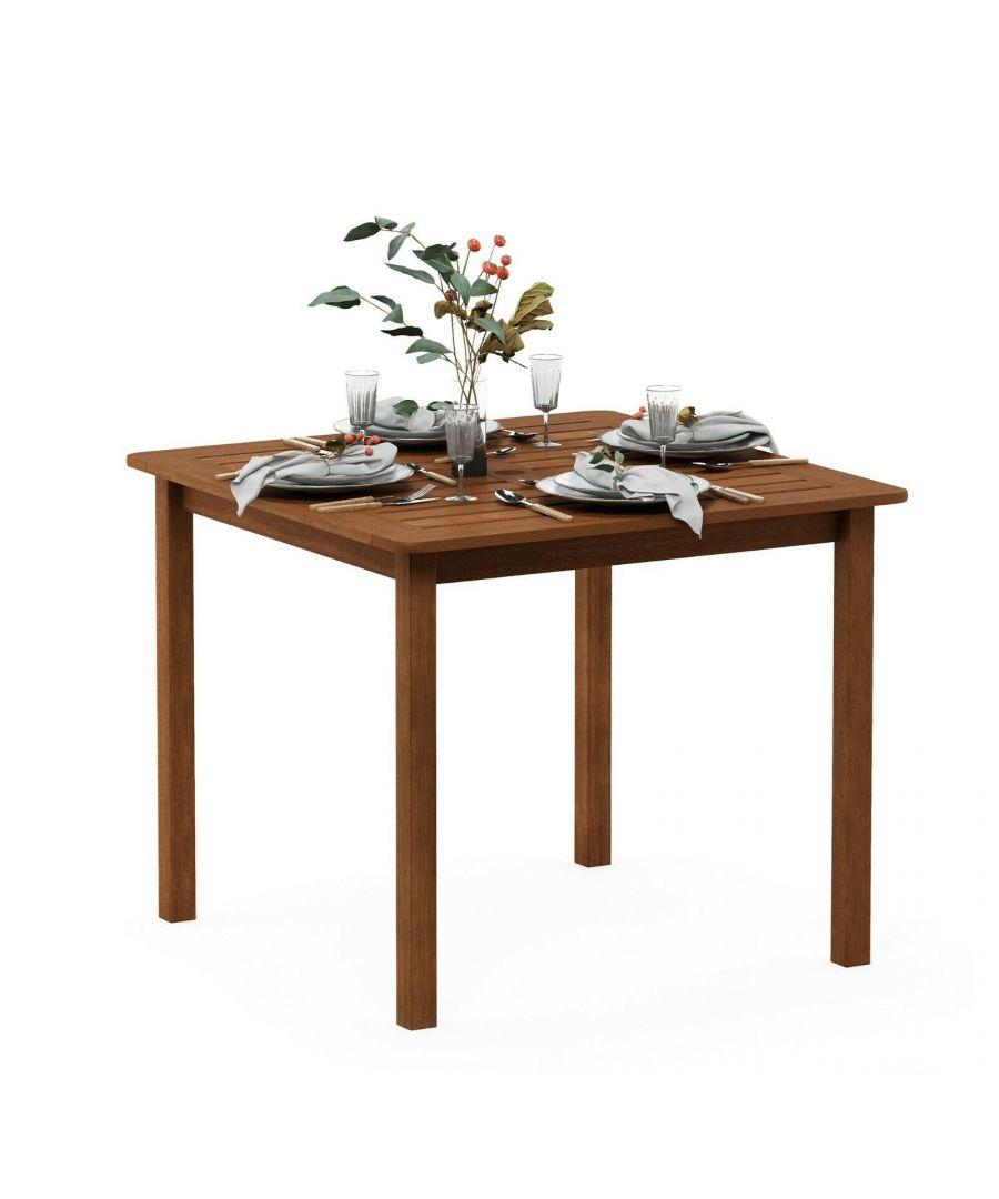 Image for Furinno Tioman Hardwood Bermuda Square Table in Teak Oil, Natural