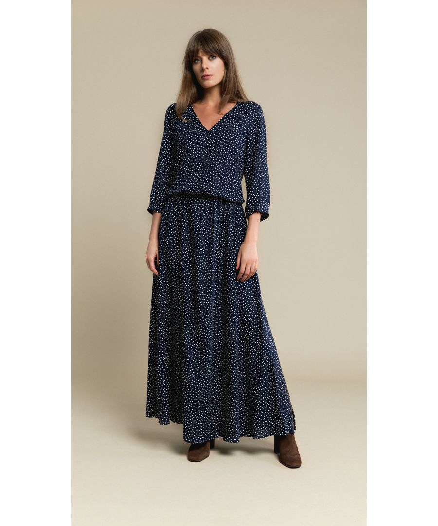 Image for Lana Dotted Navy Dress